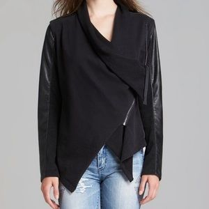 BLANKNYC Jacket Faux Leather Asymmetric Zip Black
